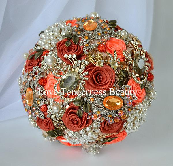 Wedding - Terracotta Wedding Brooch Bouquet, Orange and Antique Gold Wedding Brooch Bouquet, Bridal Bouquet, Jeweled Bouquet, Gentle Autumn Bouquet
