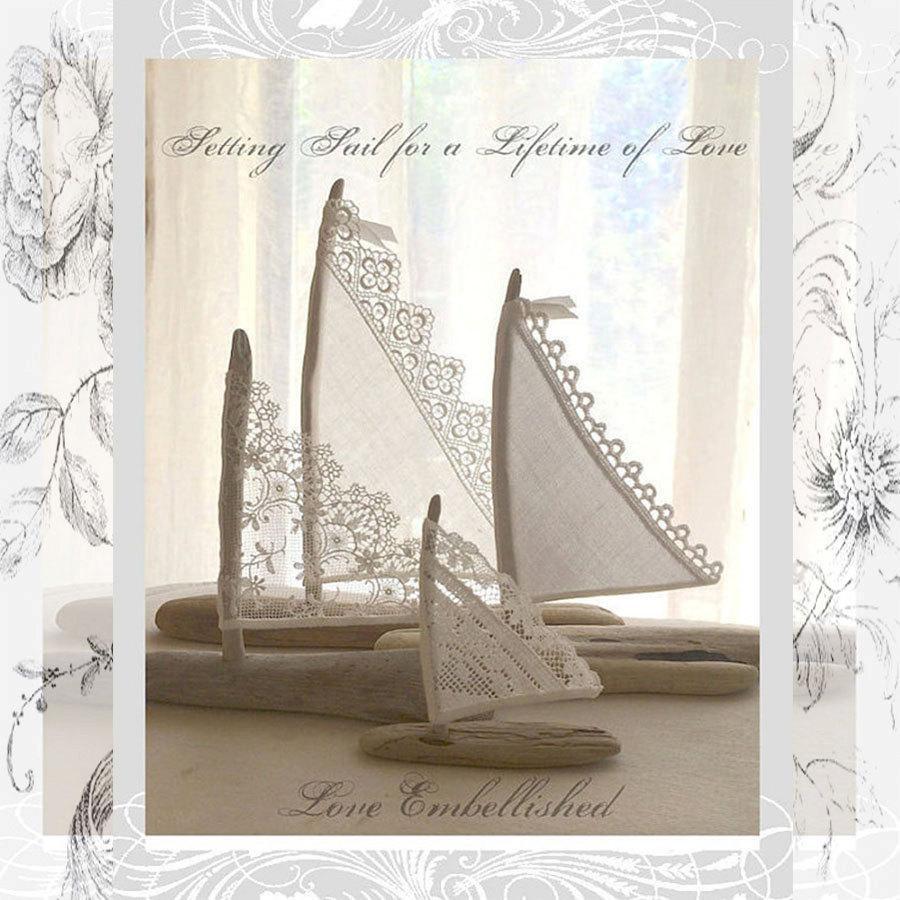 Mariage - Four Beautiful Driftwood Beach Decor Wedding Sailboats  Vintage Textile Sail Bohemian Inspired Romance Seaside Lakeside Cottage