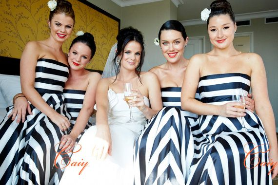 Black And White Striped Bridesmaid Dress Www Etsy Caiy