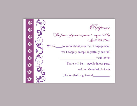 Wedding - DIY Wedding RSVP Template Editable Text Word File Download Rsvp Template Printable RSVP Cards Eggplant Purple Rsvp Card Elegant Rsvp Card