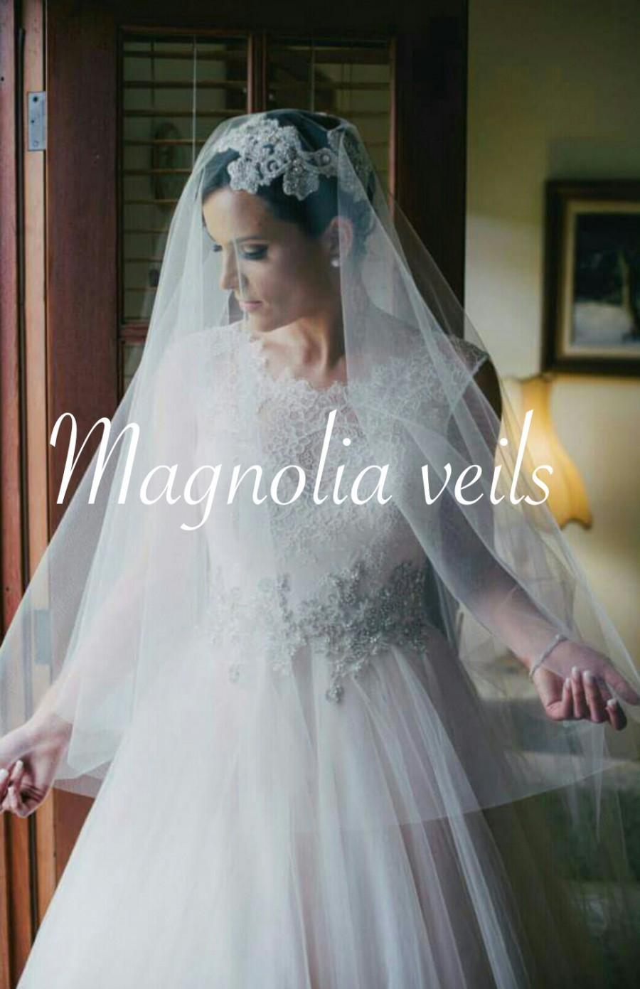 Drop Veil With Blusher Wedding Bridal Champagne Ivory Blush Color Diamond White Light Simple Floating
