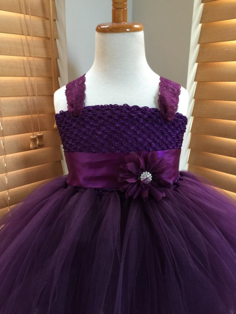 Hochzeit - Plum Flower Girl Lace Tutu Dress, Wedding Dress, Baby Girl, Toddler, Girls
