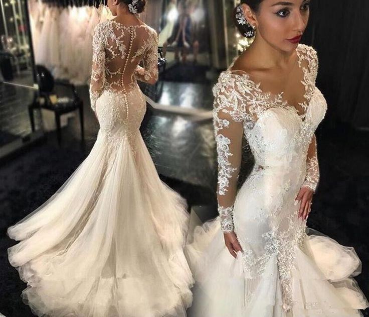Galia Lahav Mermaid Wedding Dresses Y Vestido De Novia 2016 Plus Size Lace Long Sleeves See Through Back Chapel Train Bridal Gowns