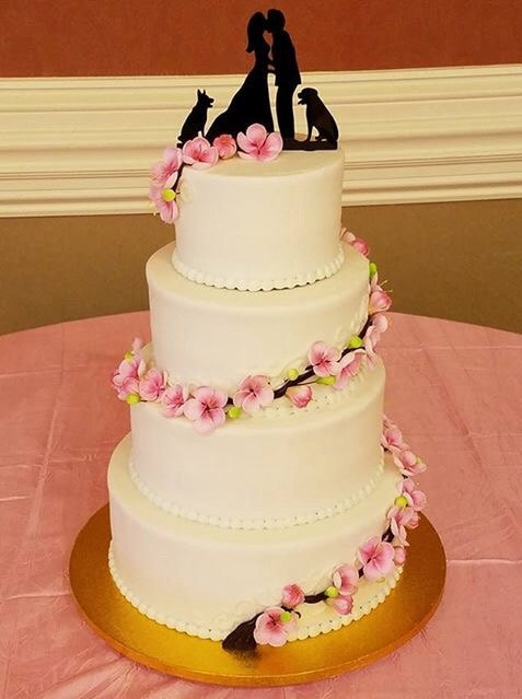 Mariage - Kissng Couple With Dogs Silhouette Wedding Cake Topper MADE In USA…..Ships from USA