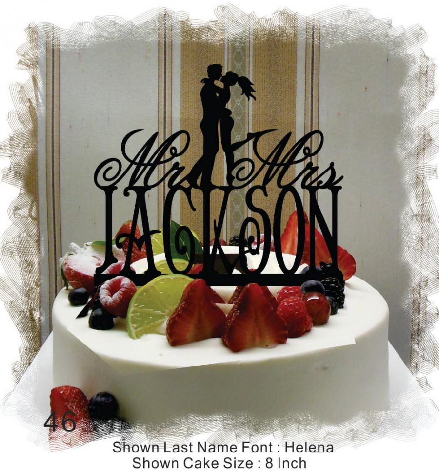 Mariage - Silhouette  Cake Topper , Monogram Cake Topper Mr and Mrs  With Your Last (Family)Name  - Handmade Custom Wedding Cake Topper
