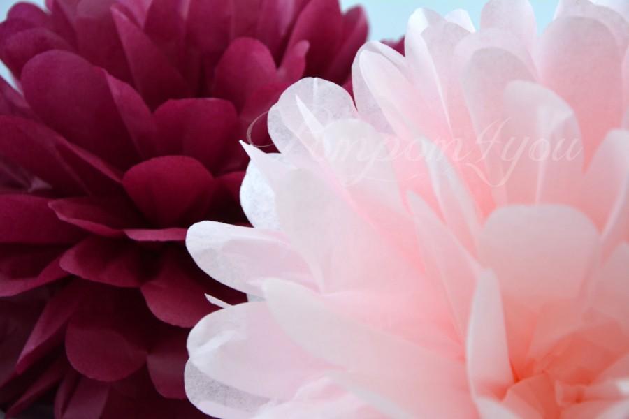 Mariage - 5 Large Tissue Paper POM POMS + 5 FREE Mini Poms // Choose your Colors // Wedding Decor // Bridal Shower // Tissue Pom Poms