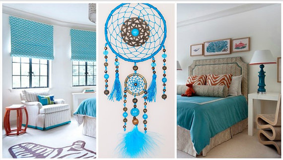 زفاف - Dreamcatcher Blue Dream Catcher Large Dreamcatcher New Dream сatcher gift idea dreamcatcher boho dreamcatcher wall handmade gift turquoise