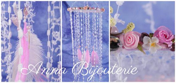 Mariage - Pink Girl tender dream Nursery Mobile handmade exclusive Dreamcatcher bedroom Baby Girl Mobiles bedding Dream Catcher Kids Dream catchers