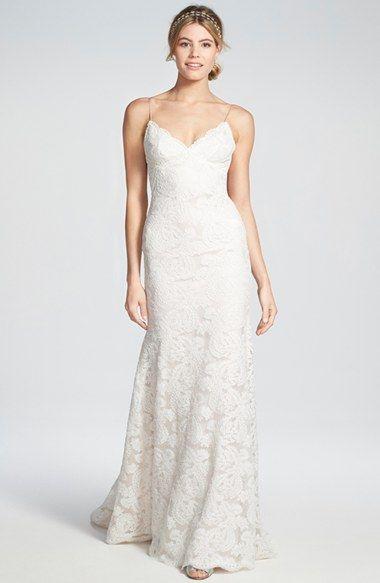 زفاف - Convertible Cap Sleeve Lace Wedding Gown