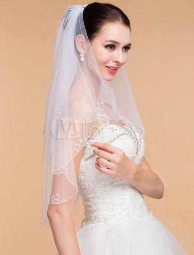 Свадьба - Two-Tier Wedding Veil With Handmade Beaded Edge