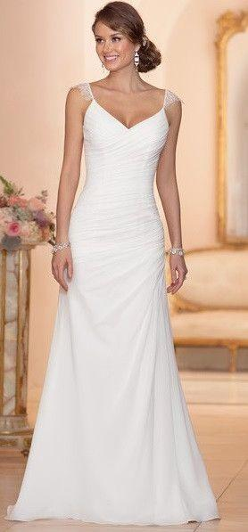 Свадьба - Chiffon Sheath Wedding Gown With Asymmetrical Ruching Throughout Bodice