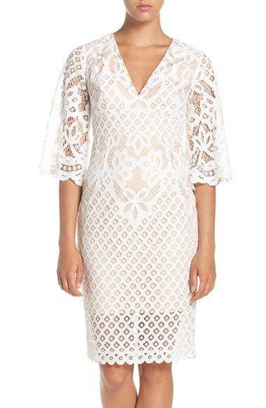 Свадьба - V-Neck Lace Sheath Dress