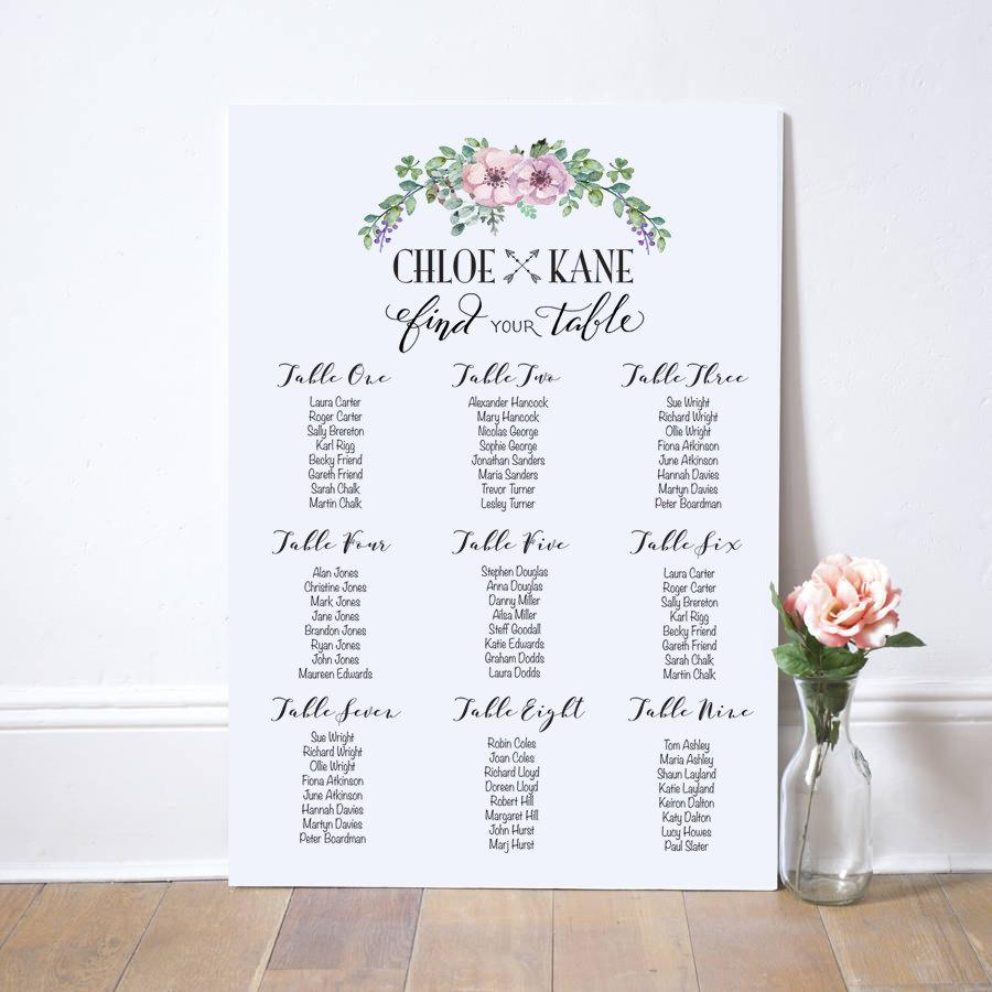 Personalised Printable Wedding Seating Plan Table Chalkboard Or White