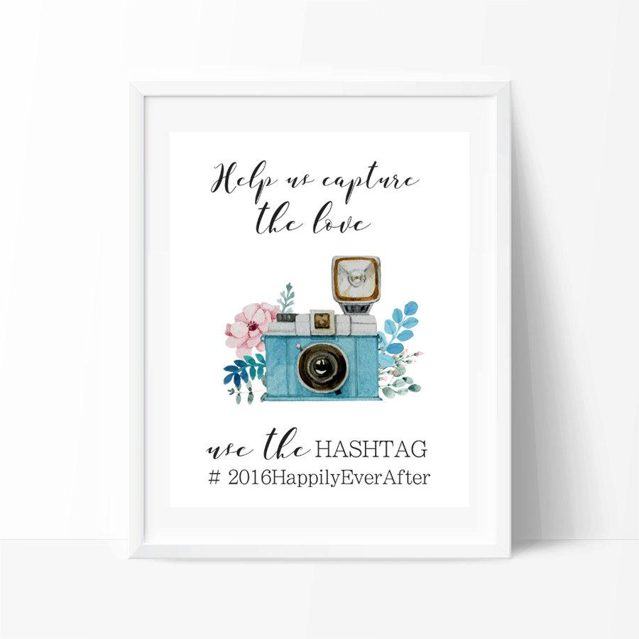 Wedding Hashtag Sign PRINTABLE Art, Instagram Wedding Sign ...