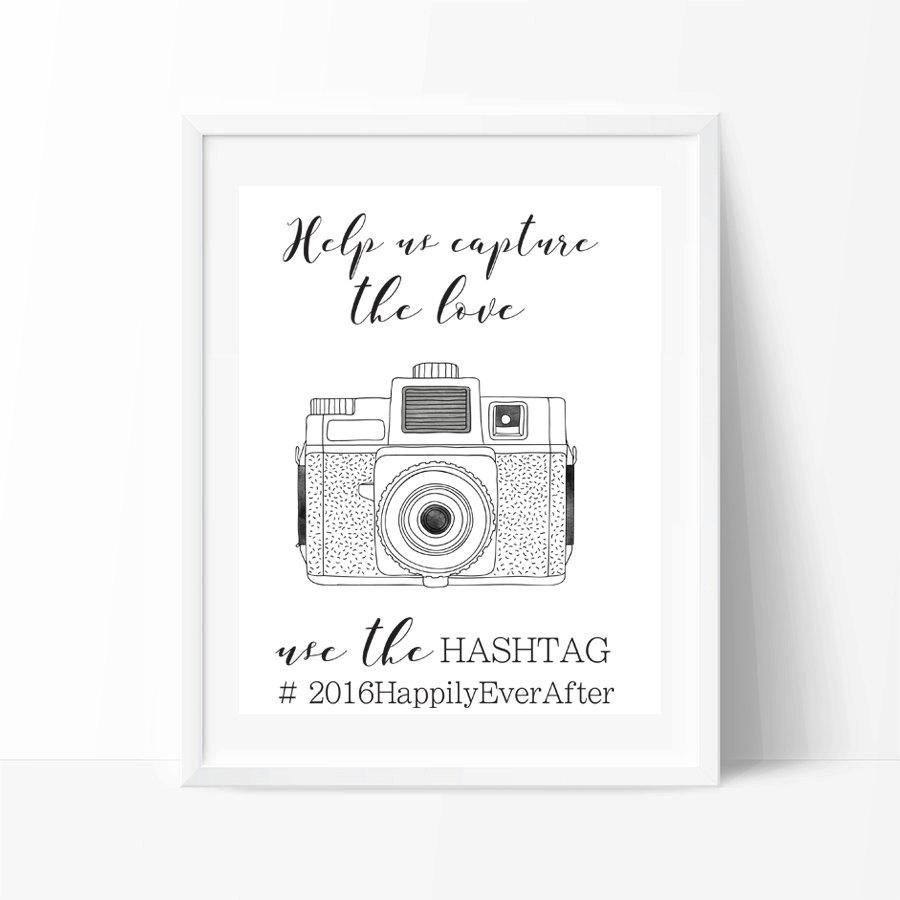Wedding Hashtag Sign PRINTABLE Art, Instagram Wedding Sign