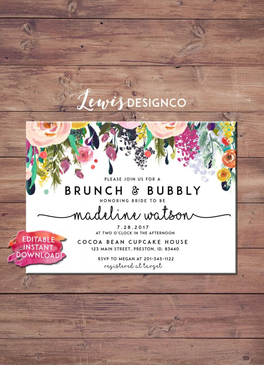 e8b8257f816a Brunch And Bubbly Floral Bridal Shower Invitation  2573824 - Weddbook