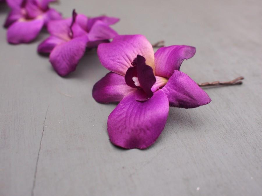Wedding - Set of 4 Vibrant Purple Silk Dendrobium Orchid Hair Flowers Bridesmaids Wedding