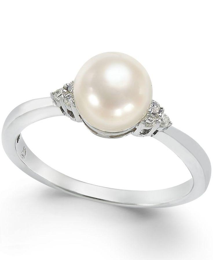 Wedding - Pearl And Diamond Accent Ring