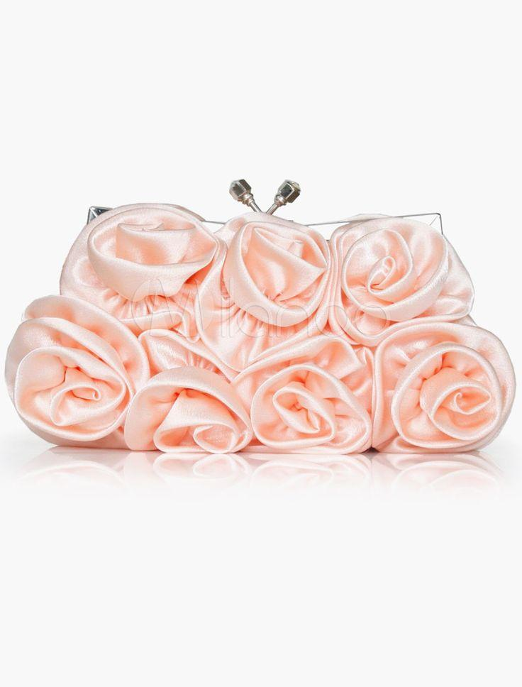 Düğün - Satin Flower Clutch Evening Bag