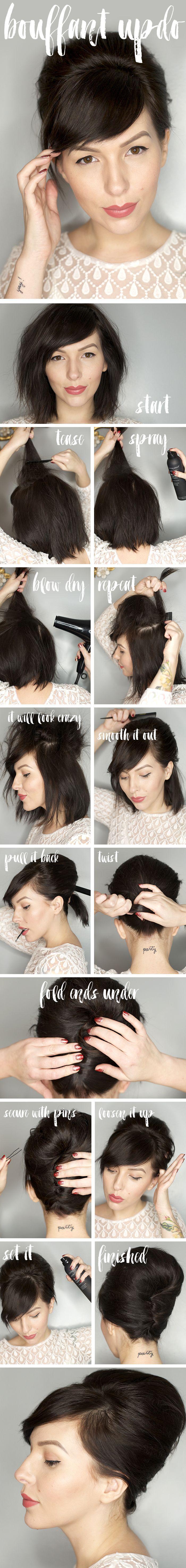 Hochzeit - Bouffant Updo Hair Tutorial