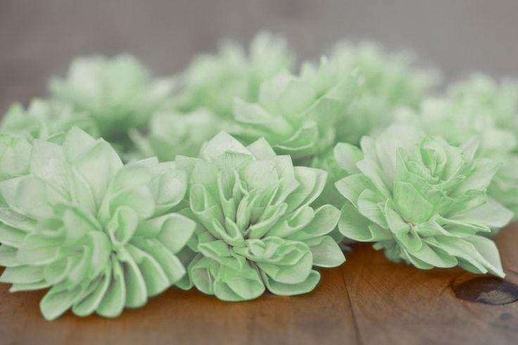 Mariage - Mint Wooden Flowers