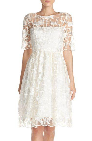 Wedding - Embroidered Fit & Flare Dress