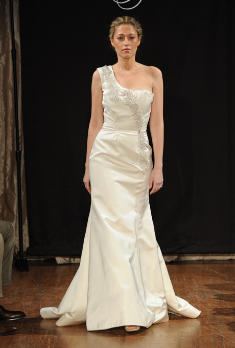 Boda - Sarah Jassir - Spring 2013 - Chantal One-Shoulder Satin A-Line Wedding Dress with Beaded Details - Stunning Cheap Wedding Dresses