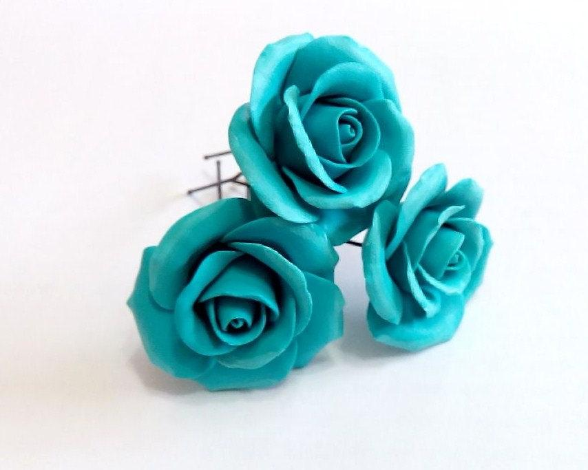 Wedding - Turquoise roses large rose, Wedding Hair Accessories, Bohemian Wedding Hairstyles Hair Flower, Turquoise wedding, Hair clips flowers - Set