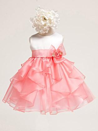 Свадьба - Coral White Baby Girl Satin Bodice w/ coral Layered Organza Dress Style: DB808 - Charming Wedding Party Dresses