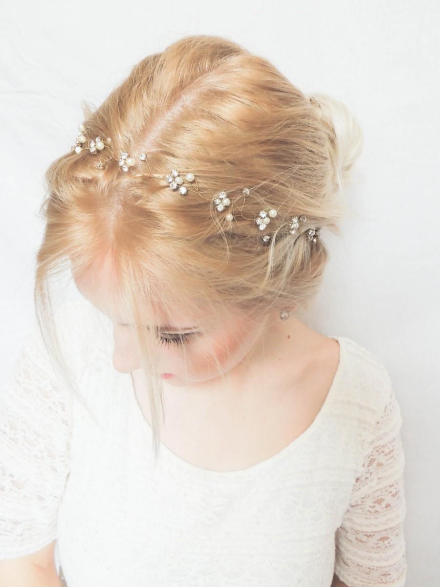 زفاف - Bridal hair vine, Pearl rhinestone headband, Bridal Halo, Bride Head Wrap, Pearl Hair Vine, Bridal Hair Accessories,Bridesmaid