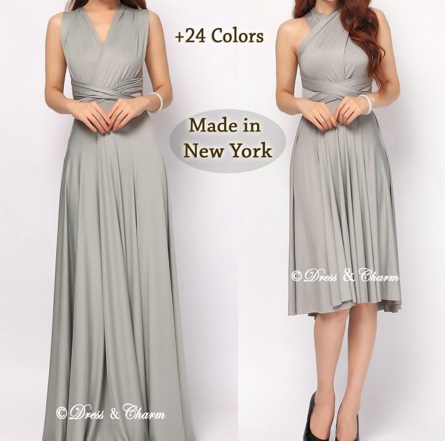زفاف - Silver Gray Bridesmaid dress, infinity dress, convertible dress, party dress, prom dress, multiway dress, convertible bridesmaid dress