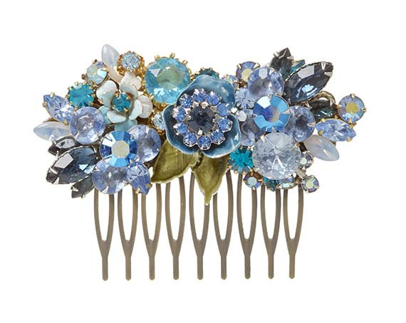 زفاف - Repurposed vintage bridal haircomb - peacock blue wedding jewelry - bridal hair accessories - rhinestone haircomb - vintage collage style