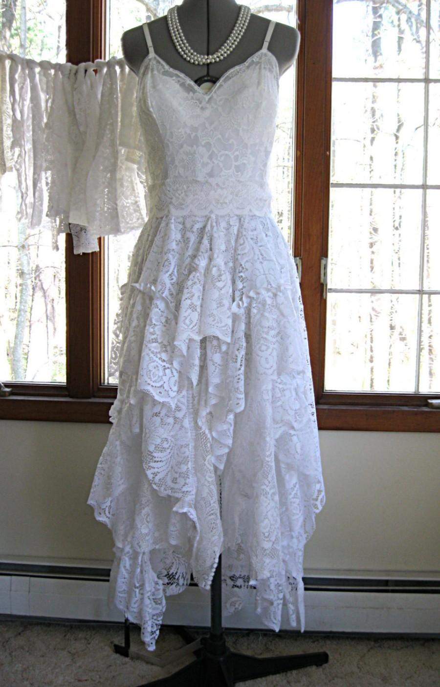 White Off Boho Gypsy Hippie Alternative Bride Tattered Wedding Dress Recycled Vintage Laces Size 4 6 By Lily Whitepad