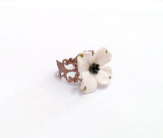 Wedding - White Dogwood Ring, Adjustable Ring, Shabby Chic Cocktail Ring, Handmade Gifts Bridal Jewelry Bridesmaids Accessories