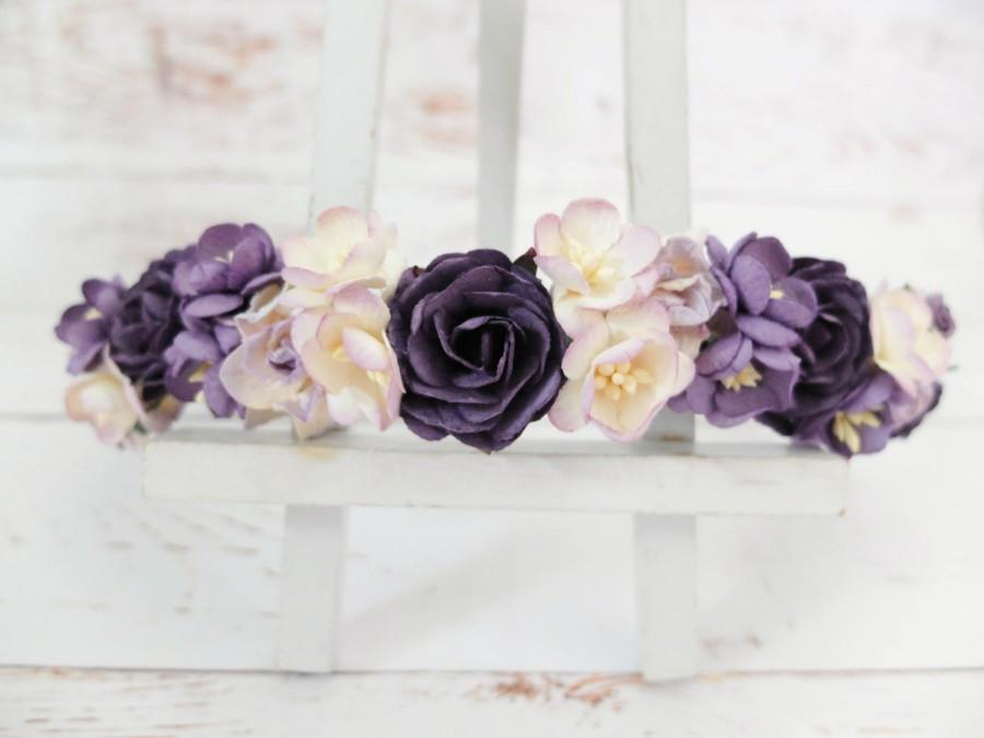 Wedding - Dark purple lilac flower crown - floral hair wreath - flower girl crown - wedding headpiece - flower hair accessories - hair garland