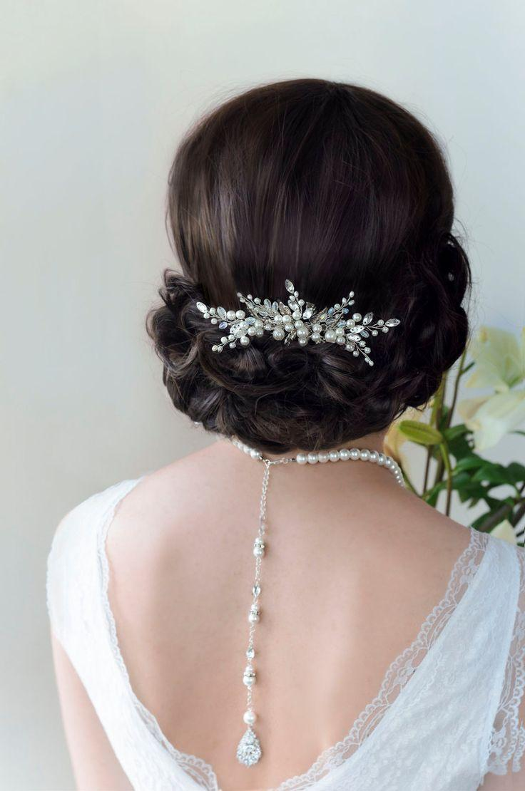 Mariage - Bridal Hair Comb, Pearl Hair Comb, Wedding Hair Comb, Bridal Hair Piece, Silver Leaf Vintage Hair Comb, Bridal Comb, Wedding Comb, Leaf Comb