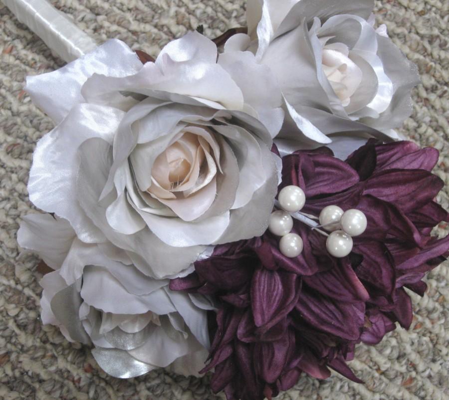 Свадьба - Silver Metallic Rose Silk Bridal Bouquet, Silk Flower Bouquet, Dahlia, Boutonniere, Wedding Bouquet