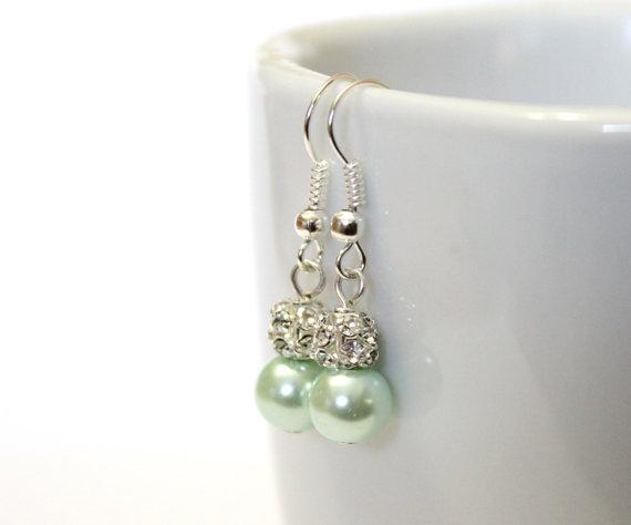 Wedding - Mint Pearl Earrings, Bridesmaid Earrings, Drop Earrings, Swarovski Pearl Earrings, Mint Pearl in Sterling Silver, 8 mm Pearl