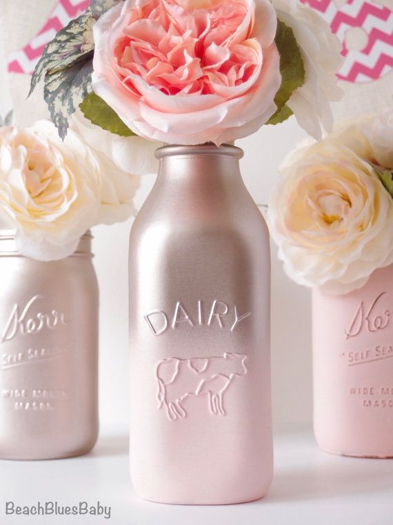 Blush Wedding Decor Centerpiece Rose Gold Ombre Vase Mason Jar Milk Bottle