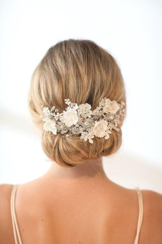 Mariage - Wedding Lace Head Piece,  Pearl Beaded Lace Vine, Wedding Headpiece, Wedding Hair Accessory