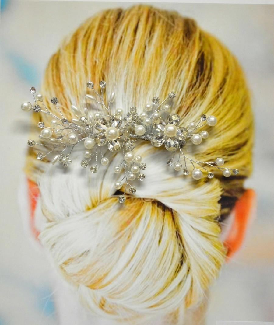 Mariage - Monaco Wedding Hair Comb, Wedding Hair Accessories, Bridal Hair Comb, Pearl and Crystal Hair Comb, Floral Bridal Headpiece, Hair Pin