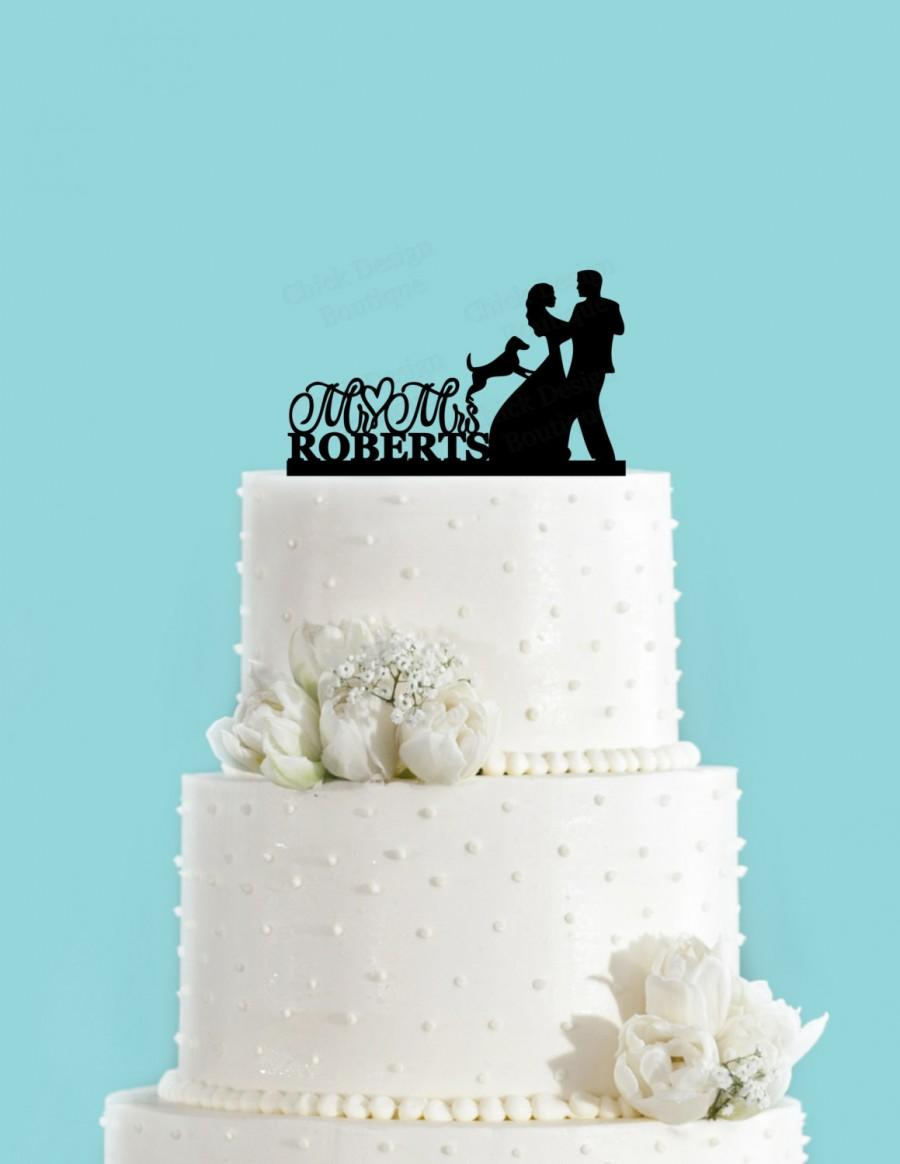 Mariage - Custom Couple Dancing with Dog Bride and Groom Cake Topper, Wedding Cake Topper