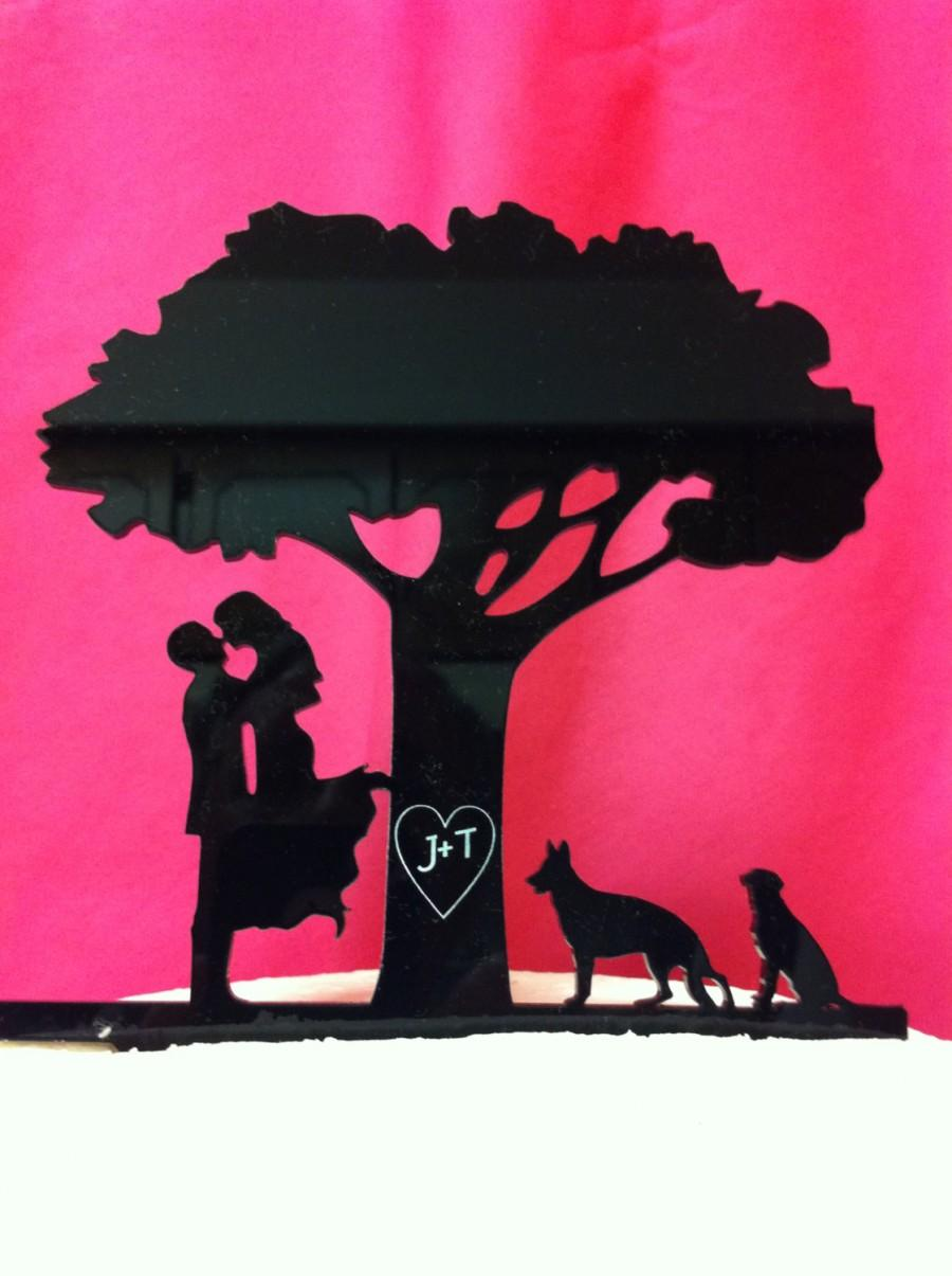 Hochzeit - Kissng Couple Carved Letters with Pets Tree Silhouette Wedding Cake Topper MADE In USA…..Ships from USA
