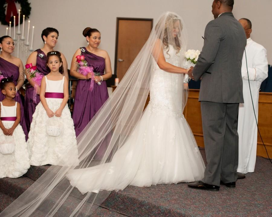 Bridal Veil Swarovski Crystal Rhinestone Sheer 135 Inch Long Cathedral Length Wedding With Blusher