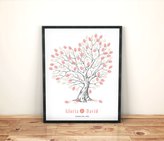 Mariage - Heart shaped wedding tree, hand drawn thumbprint guestbook, Romantic Bride and groom gift, customised wedding guestbook, Peach wedding tree