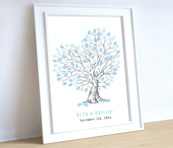 Свадьба - Heart shaped wedding tree, personalised wedding fingerprint tree, Fingerprint Tree Guest Book, personal wedding guestbook, Blue wedding tree