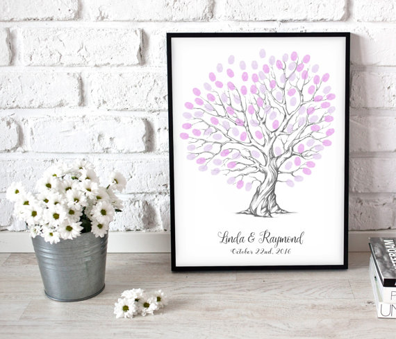 Heart Shaped Wedding Tree Personalised Fingerprint Gift For S Gifts Love