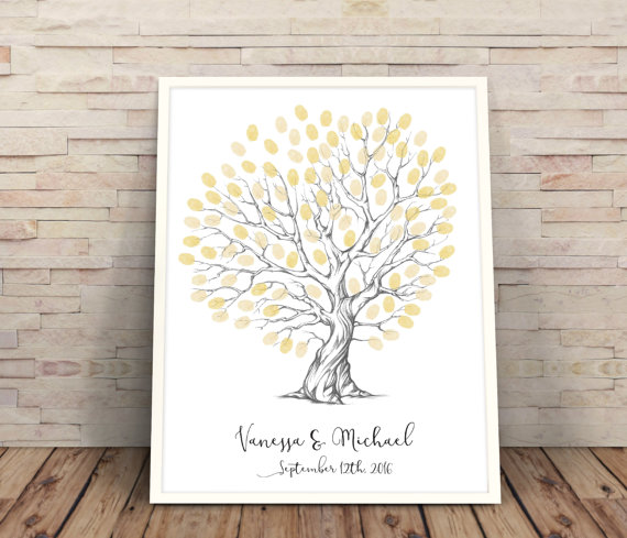 Personalised Wedding Fingerprint Tree Heart Shaped Wedding Tree