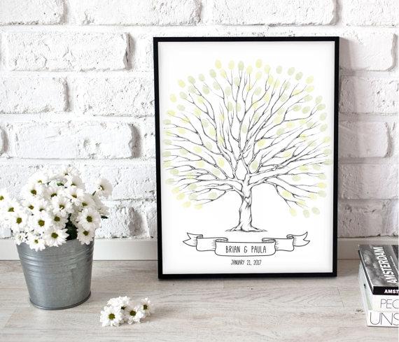 Printable Wedding Tree Poster Reception Book Alternative Unique Gift Ideas Centrepiece