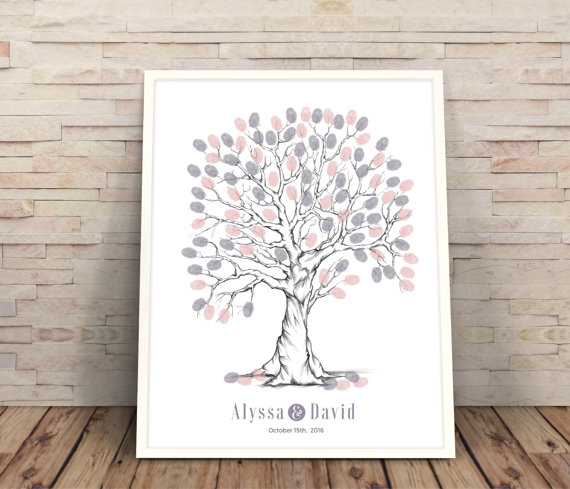 Wedding - purple finger print tree, wedding guest book alternative, wedding tree, guestbook ideas, Wedding Trees, finger print tree, wedding guest